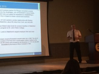 Tony Power for Bausch & Lomb delivers a presentation about becoming a more sustainable institution in Basil 135