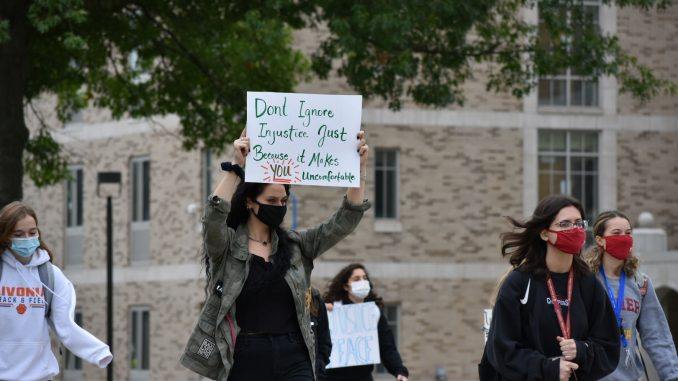Student-led protest on Fisher's campus Friday morning