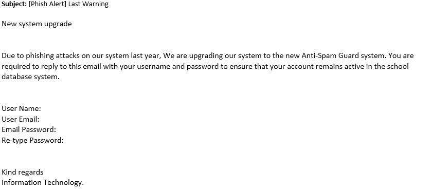 New SYstem upgrade phishing attack image